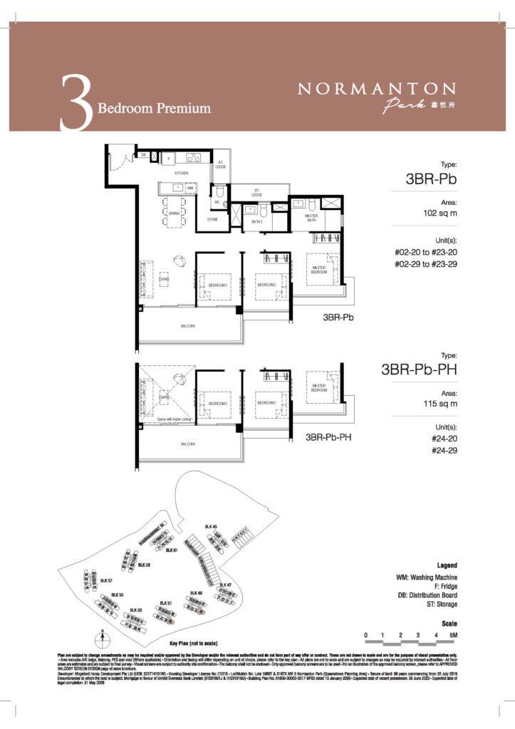 normanton park 3 bedroom unit floor plan